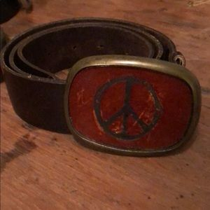 Accessories - Peace sign leather belt